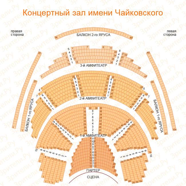 """Схема зала в КЗ  """"Чайковского """" ."""
